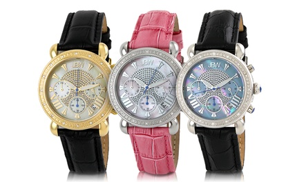 JBW Victory Leather Women's Diamond Chronograph Watches