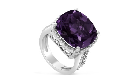 12 CTW Split Shank Cushion-Cut Amethyst and Diamond Accent Ring