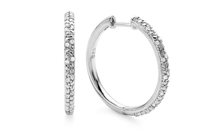 1/4 CTTW Diamond Hoop Earrings