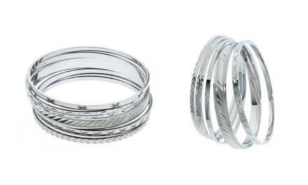 Bangles in 18K White Gold Plating (5-Piece)
