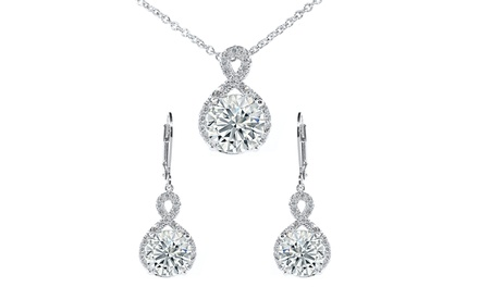Cubic Zirconia Twisted Halo Pendant and Earring Set