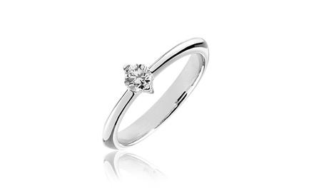 Anel solitário em ouro branco com diamante central de vários quilates desde 119,99€
