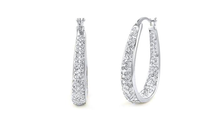 18k white gold plated swarovski elements hoop earrings