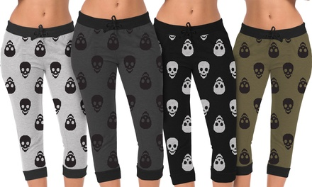 Women's Jogger Capris with Skull Print (2-Pack)
