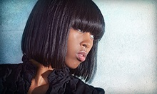 Haircut with a Relaxer Treatment or a Deep Conditioning, Shampoo, and Partial Highlights at HD4 Salon (Up to 59% Off) 