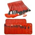 24-Piece Royal Red Makeup Brush Set