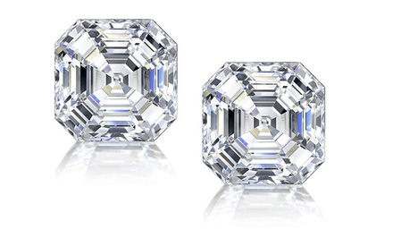 Asscher-Cut Cubic Zirconia Stud Earrings in Sterling Silver