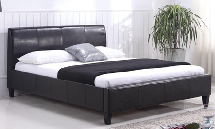 Cielo Lifestyle: Queen-Sized Juliette Faux Leather Bed Base, Including Delivery