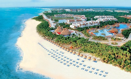 groupon daily deal - ✈ All-Inclusive Valentin Imperial Maya Stay w/ Airfare. Includes Taxes and Fees. Price/Person Based on Double Occupancy.