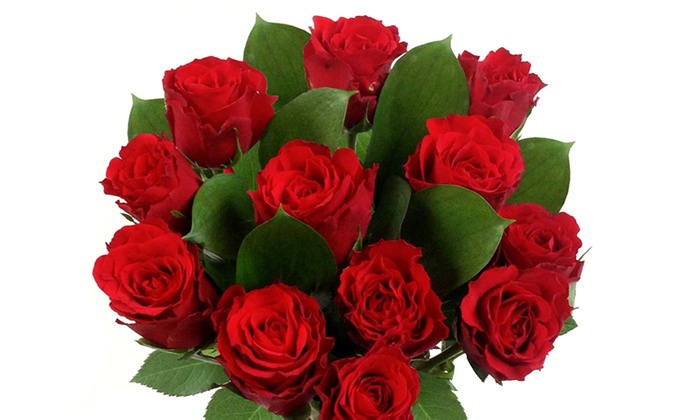 Flowers & Hampers Direct: Dozen Red Roses With Named Delivery Date and Personalised Message for £19.99 (50% Off)