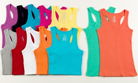 12-Pack of Women's Ribbed Cotton Racerback Tank Tops