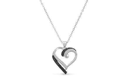0.25 CTTW Sterling Silver Plated Black and White Diamond Heart Pendant Necklace