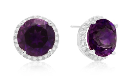 7 CTTW Amethyst Halo Stud Earrings in Sterling Silver