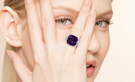 12 CTW Cushion-Cut Amethyst Ring in Solid Sterling Silver