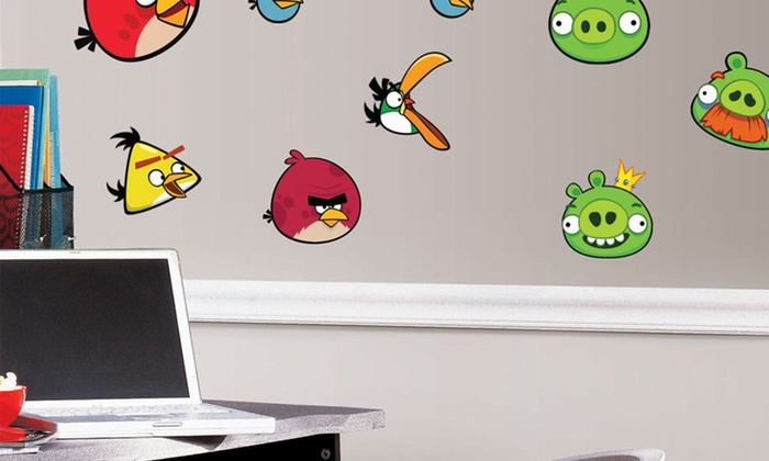 Angry birds wall decals deal of the day groupon for Angry birds wall mural