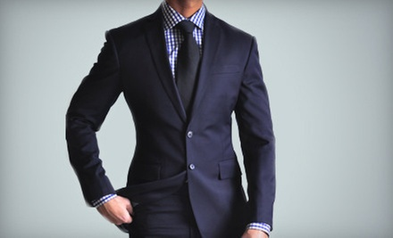 $599 for Custom Men&#x27;s Cashmere Suit, Shirt, and Silk Tie, or Custom Overcoat at Empire Customs (Up to $1,385 Value)