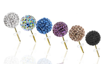14K Gold Swarovski Elements Crystal Ball Stud Earrings