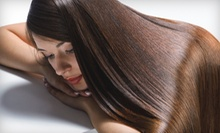 Haircut and Keratin Conditioning Treatment with Option of Partial Highlights at The Color Palette Salon (Up to 69% Off)