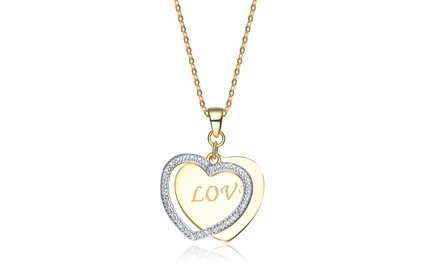 Diamond-Accent Love Pendant with 18-Karat Gold Plating over Sterling Silver