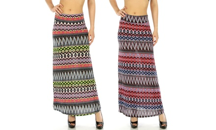 Women's High-Waisted Chevron-Print Maxi Skirts (2-Pack)
