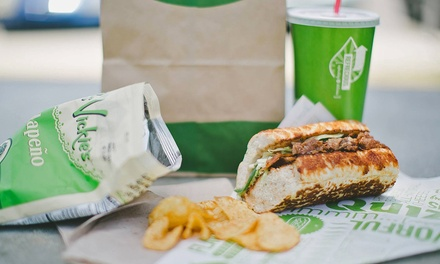 Food & Drinks, Five Sandwiches, or Create-Your-Own Catering Tray at Quiznos Sandwich Restaurants (Up to 47% Off)