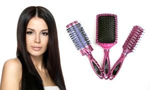 Set Of 3 Paris Tools Pink-zebra-print Hairbrushes