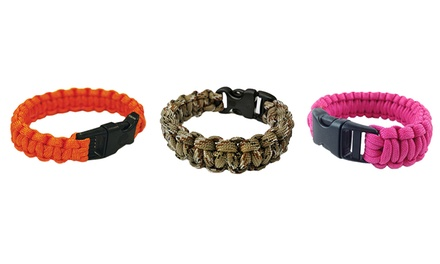 Paracord Survival Bracelet with Flint Scraper, Whistle, and Cutting Tool