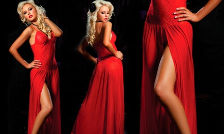 Vestido vermelho com abertura na perna por 18,99€
