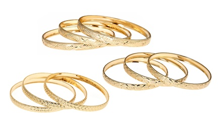 18-Karat Gold-Plated 3-Piece Bangle Set. Four Options Available. Free Returns.