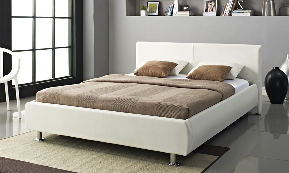 crystal white leather king size bed on special 849