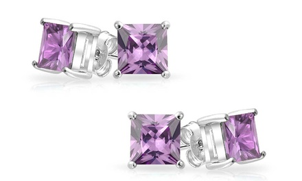 2.50 CTTW Genuine Amethyst Stud Earrings (1 or 2 pairs)