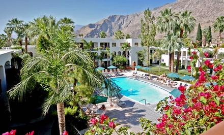 groupon daily deal - 2- or 3-Night Stay for Two in a Pool-View Room with Water-Park Passes at Palm Mountain Resort in Palm Springs, CA.