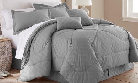 Hotel New York 6-Piece Embossed-Plaid Comforter Set
