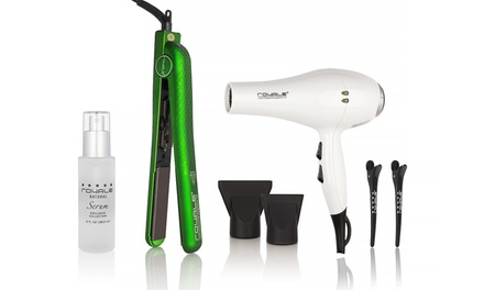Royale Hairstyling Bundle with Tourmaline Pro Hair Dryer, Classic Green Diamond Flat Iron, and Natural Hair Serum