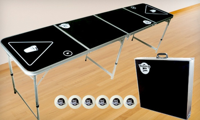 59 for a portable 8 foot beer pong table groupon - Beer pong table triangle dimensions ...