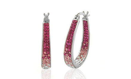 Ombre Hoop Earrings with Swarovski Elements in 18K White Gold Plated Brass