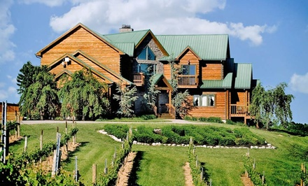 groupon daily deal - 1- or 2-Night Stay for Two in an Inn, Lodge Queen, or Estates Room at The Lodge at Elk Creek Vineyards in Owenton, KY