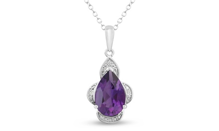 2.71 CTTW Diamond and Pear-Cut Amethyst Pendant