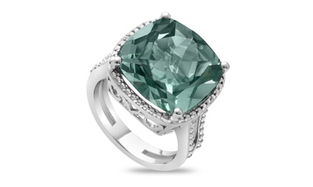 11.00 CTTW Genuine Cushion Cut Green Amethyst and Diamond Accent Split Shank Ring in Sterling Silver