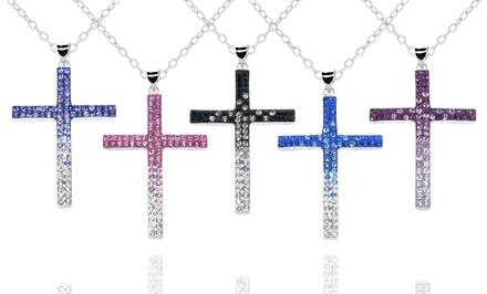 Swarovski Elements Crystal Ombre Cross Pendant in Sterling Silver