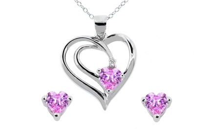 2-Piece Sterling Silver Pink Cubic Zirconia Heart Pendant and Earrings Set