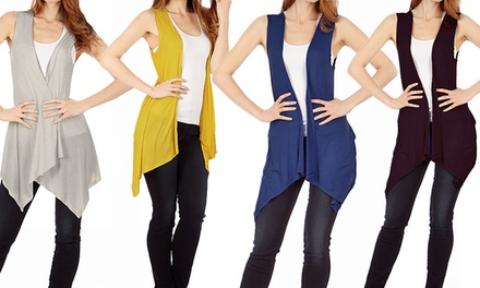 Women's Sleeveless Cardigan Flyaway Vest