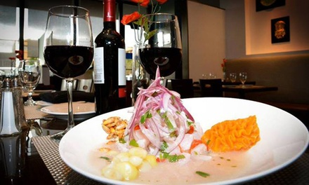 Peruvian Dinner for Two or Four with a Bottle of Wine at Ceviche by the Sea (Up to 36% Off)