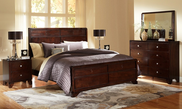 5 piece bedroom furniture sets groupon for Bedroom furniture deals