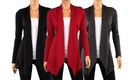 3-Pack of Hacci Women's Draped Cardigans in Assorted Colors. Multiple Options Available. Free Returns.