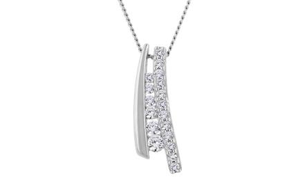0.25 CTTW Diamond Wishbone Pendant in Sterling Silver