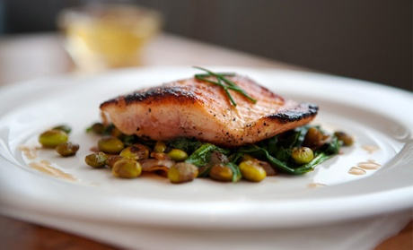 $80 for a Three-Course Seasonal Seafood Dinner and Wine for Two