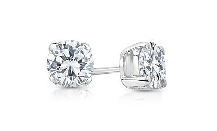 1.00 CTTW Certified Diamond Stud Earrings in 14-Karat White Gold by Diamond Affection