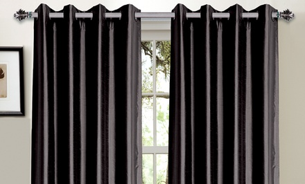Bella Luna Woven Dobby or Faux-Silk Foam-Back Blackout Curtains