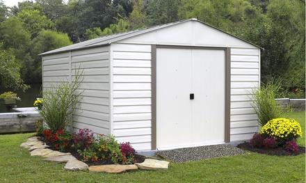 Arrow 10'x12' White Dallas Steel Storage Shed with Skylight
